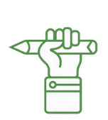 A hand raised in a fist holding a pencil indicates a revolutionary learning system